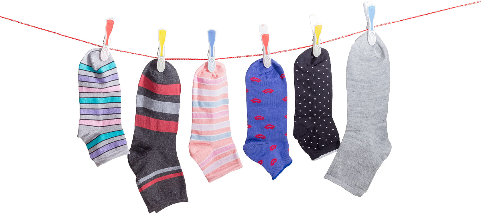 colorful socks on a clothes line