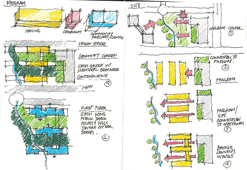 Design sketches for Colorado School Mines's New Student Residence Hall