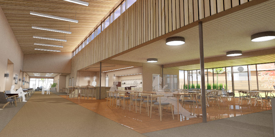 Rendering of Riverview Retirement Community, Spokane, Washington, activity space