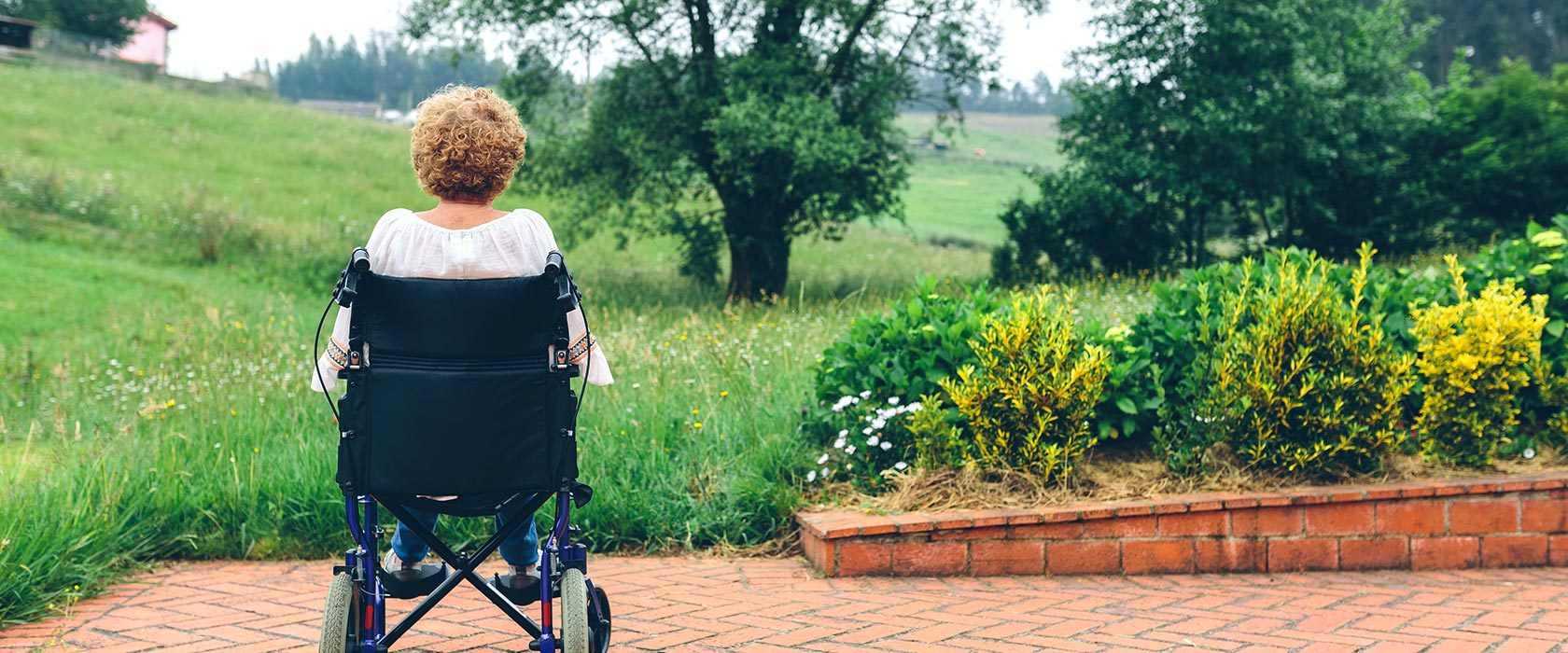 woman in wheelchair looking at field and trees