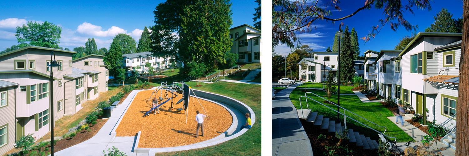 Inner courtyards, abundant green spaces, and a network of bike and pedestrian paths create a family-oriented parklike setting at the University of Washington's Radford Court Apartments