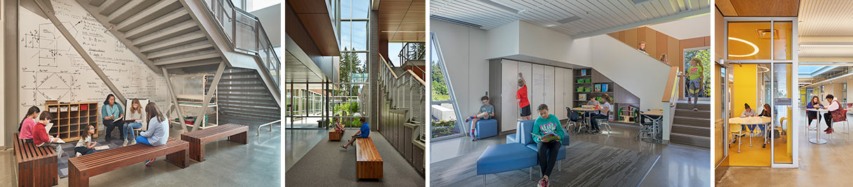 Small group rooms, benches off the main path of circulation, and nooks/crannies located throughout hallways, classrooms, and libraries provide additional areas for students to rest and recharge. From left to right: Hazel Wolf K-8 E_STEM School, Cherry Crest Elementary School, Happy Valley Elementary School, Wilson High School, link to PK-12 Schools projects