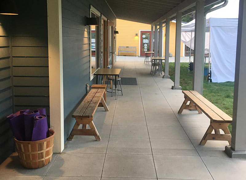 benches in covered walkway