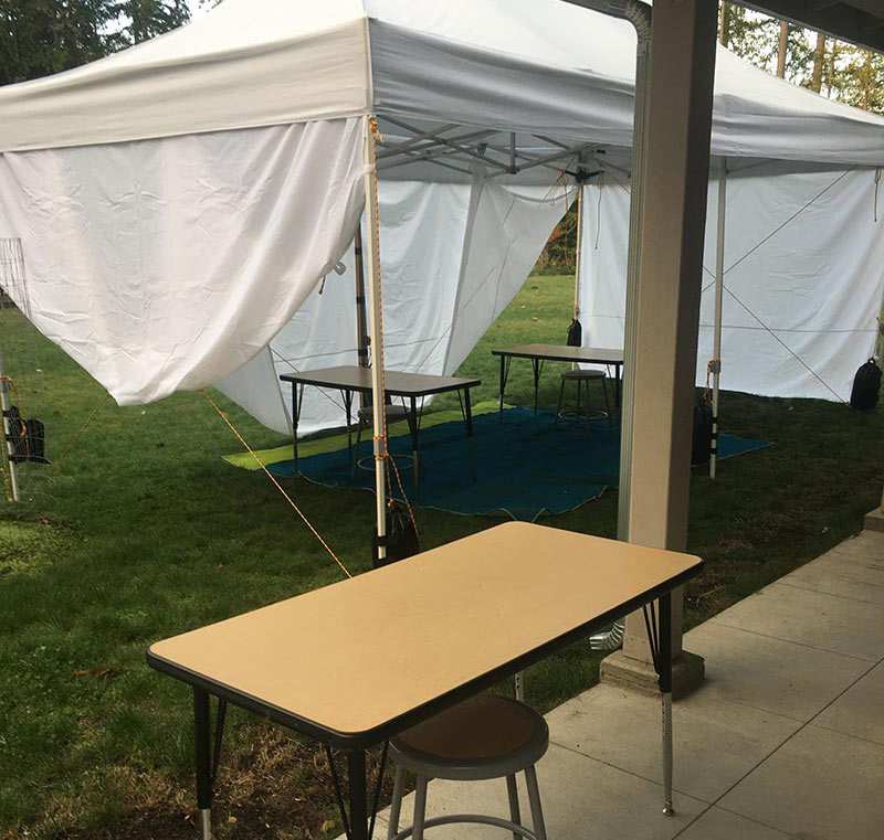 tables in tented space