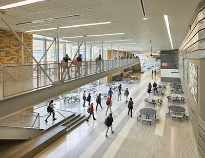 Pullman High School commons area and upper walkway, link to article: Pullman High School Receives AIA Honor Award
