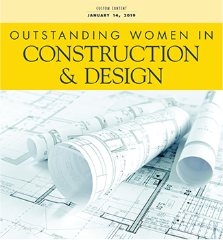 cover of Outstanding Women in Construction & Design magazine showing architectural documents