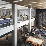 Link to larger image of building exterior, glass entry, students on walkway