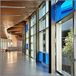 Curved hallway with slatted ceiling, blue and clear windows, link to larger image