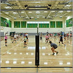 Students playing volleyball in gym, link to larger image