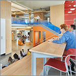 Students in multi-level flexible learning space, link to larger image