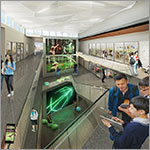 Rendering of interior, students in hallway, overlooking large monitors, link to larger image