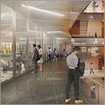 Rendering of interior hallway with glass walls overlooking lower area, link to larger image